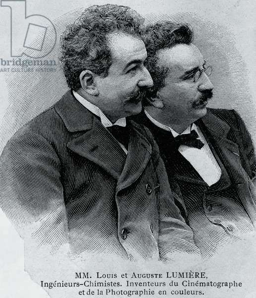 Portrait of Auguste Marie Louis Nicolas Lumiere (1862-1954) and Louis Jean Lumiere (1864-1948), French entrepreneurs and inventors of film projector, engraving from photograph