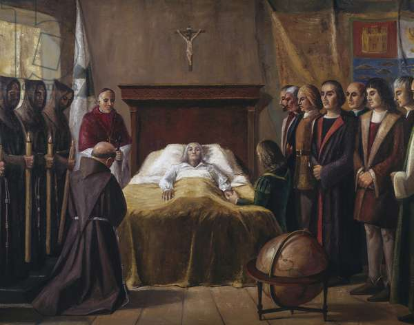Death of Christopher Columbus on May 20, 1506, beside his son Fernando, and his Genoese friends Bartolomeo Fieschi and Juan Spinola