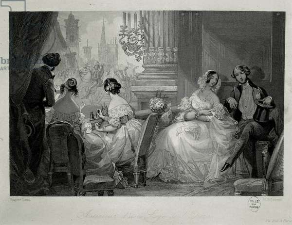 Interior of the Paris Opera, people in a loge Engraving by Eugene-Louis Lami, 1842