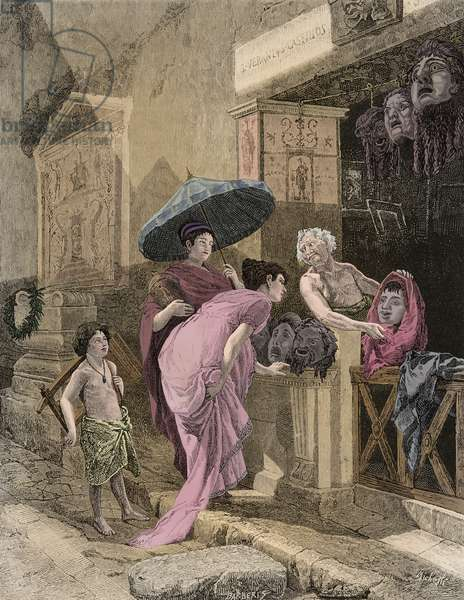 Masks vendor in Pompeii, Italy, drawing by Michetti from painting by Cesare Mariani (1826-1901), engraving by Barberis
