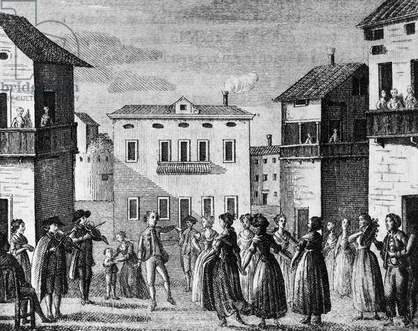 Illustration for public square, comedy by Carlo Goldoni (1707-1793), engraving, from Opere teatrali del sig avvocato Carlo Goldoni veneziano, published by Antonio Zatta e figli, 1792, Venice