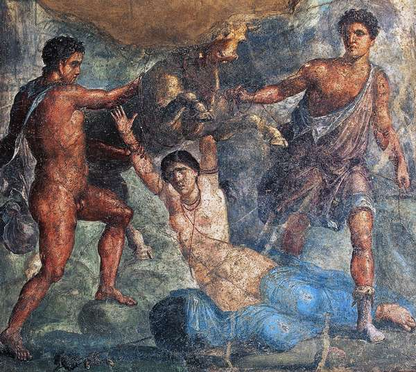 Pentheus being killed by Bacchantes, fresco in Oecus, House of Vettii, Pompeii (Unesco World Heritage List, 1997), Campania, Italy, Roman civilization, 1st century