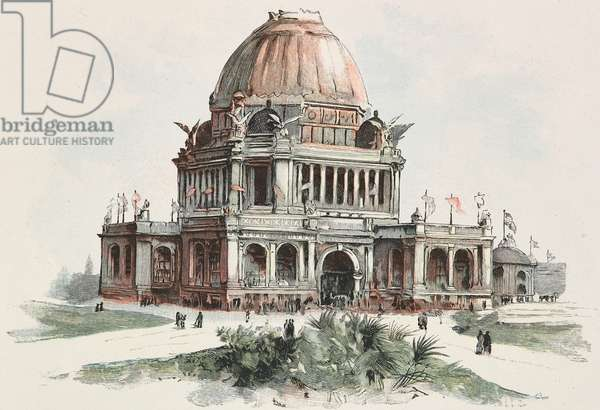 Administration Building at World's Columbian Exposition in Chicago, United States, woodcut from Moderne Kunst (Modern Art), illustrated magazine published by Richard Bong, 1892-1893, Year VII, No 10, Berlin