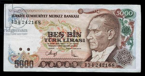 5000 lirasi banknote, 1990, obverse, portrait of Mustafa Kemal Ataturk (1881-1938), Turkey, 20th century
