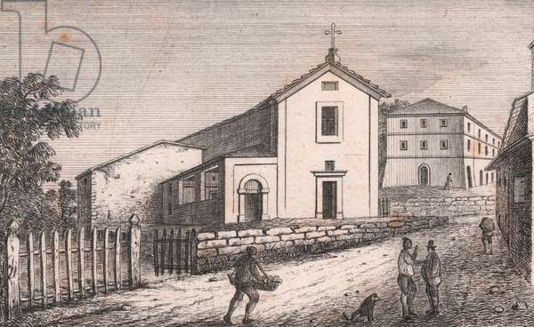 View of Church of Saint Lawrence, Roncastaldo, Loiano, Emilia-Romagna, Italy, lithograph, circa 13x17 cm