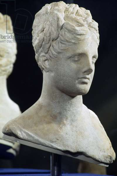 Head of young woman, perhaps Aphrodite, marble sculpture, Egyptian Civilisation, Ptolemaic Period, 2nd-1st century BC
