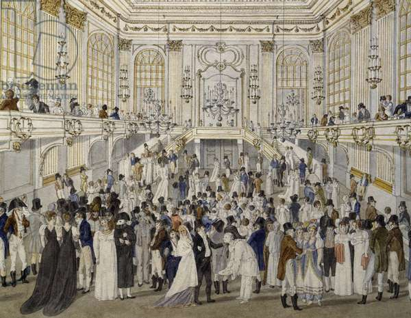 Party in the Foyer in Vienna, watercolour, Austria, 19th century