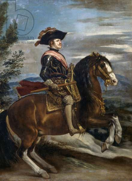 Equestrian portrait of Philip IV of Spain (1605-1665), attributed to Diego Velazquez, oil on canvas, 126x98,2 cm