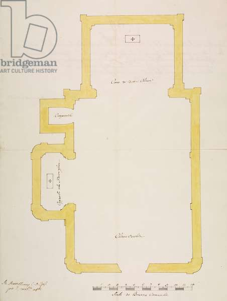 Design for chapel dedicated to Immaculate Conception of Blessed Virgin Mary in Oratory of Saint Lawrence, Regoledo, parish of Perledo, August 2, 1754, Cardinal Giuseppe Pozzobonelli, elevation drawing, Italy, 18th century