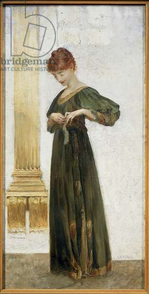 Maria D'Annunzio Duchess of Gallese by Giulio Aristide Sartorio, oil on canvas on cardboard, 1891