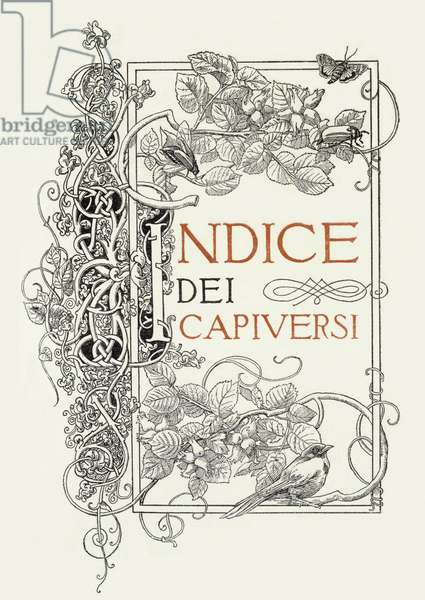 "Decorated page for ""L'Indice dei Capiversi"" by Gabriele d'Annunzio, 1904"
