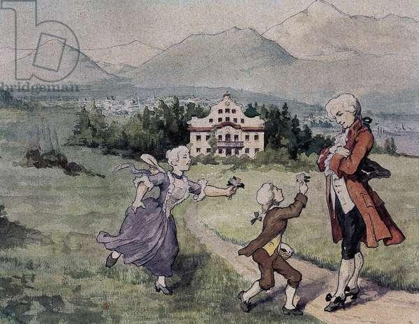 Leopold Mozart with his children Maria Anna Walburga Ignatia Mozart (1751-1829) and Wolfgang Amadeus Mozart (1756-1791).