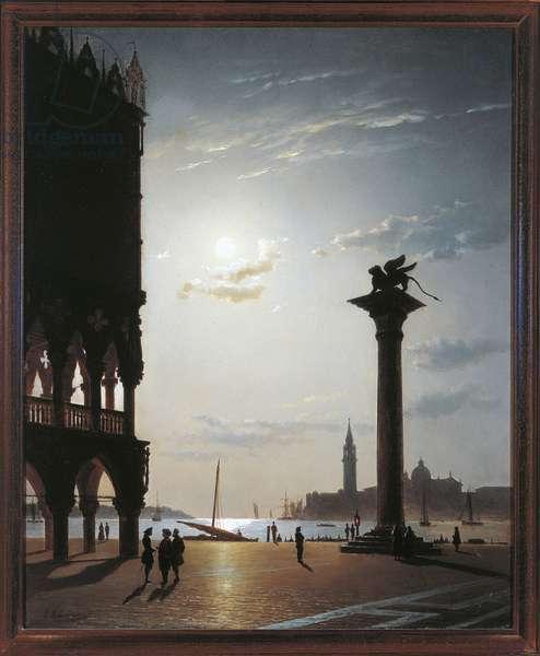 Venice, Lagoon seen from St. Mark's Square, by Eugenio Cecchini Prichard, Oil on canvas