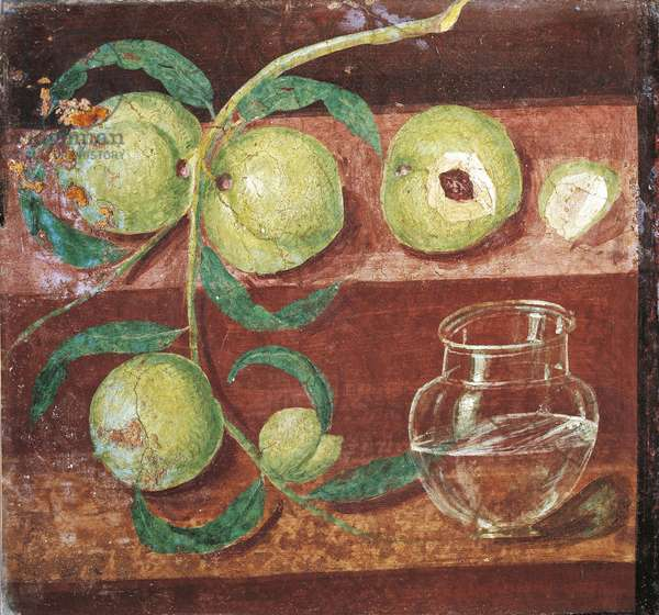 Italy, Naples, Still Life with Peach Branch, Fresco from Pompei