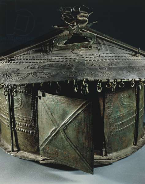 Bronze funerary urn in shape of house, from Vulci, province of Viterbo, 8th century BC