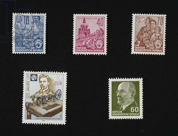 Postage stamps from series honoring German Democratic Republic (GDR) five-year plan, 1995, Reconstruction of Dresden, Peace and family, Telegraph by Edward Hughes (1855) President of German Democratic Republic Walter Ulbrichtermany