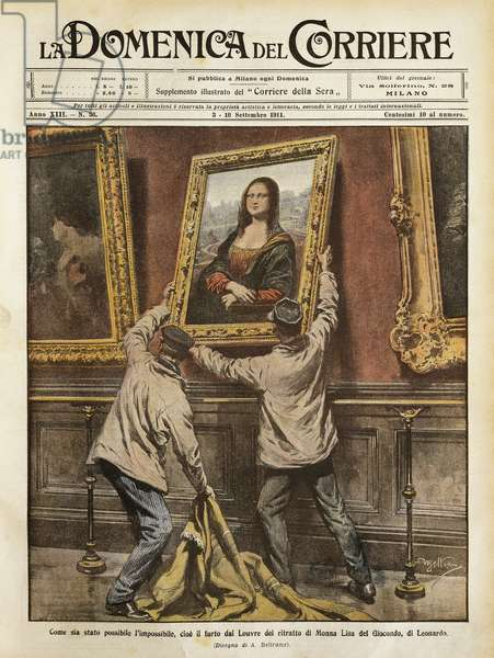 Theft of Mona Lisa, by Achille Beltrame, illustration, Illustrator Achille Beltrame (1871-1945), from La Domenica del Corriere, 3rd-10th September 1911