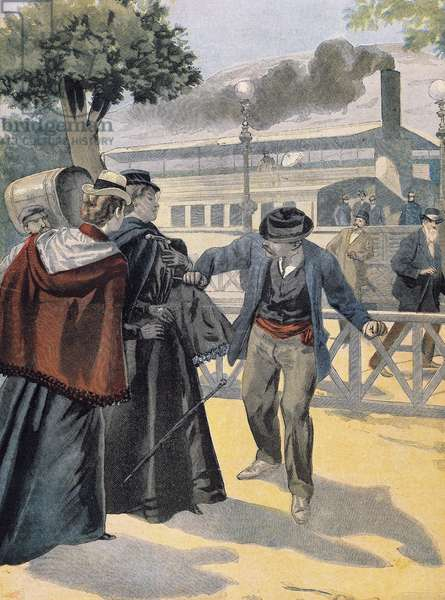 Italian anarchist Luigi Lucheni killing Elisabeth of Bavaria, Empress of Austria, in Geneva, September 10, 1898, illustration from Le Petit Journal