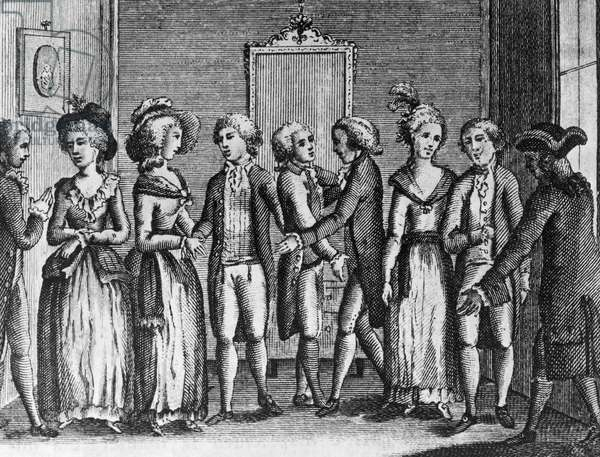 Weddings, illustration for Back from Country, comedy by Carlo Goldoni (1707-1793), engraving, from Opere teatrali del sig avvocato Carlo Goldoni veneziano, published by Antonio Zatta e figli, 1788, Venice