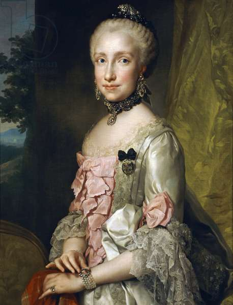 Portrait of Maria Luisa of Bourbon on the Occasion of her Engagement to be Married, by Anton Raphael Mengs, Circa 1764, oil on canvas, 1728-1779, 85x65 cm