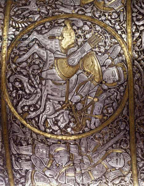 Figure of archer, detail from St Louis' basin or baptismal font, signed Ibn Zayn, brass, silver and gold. Egypt or Syria, 13th century.