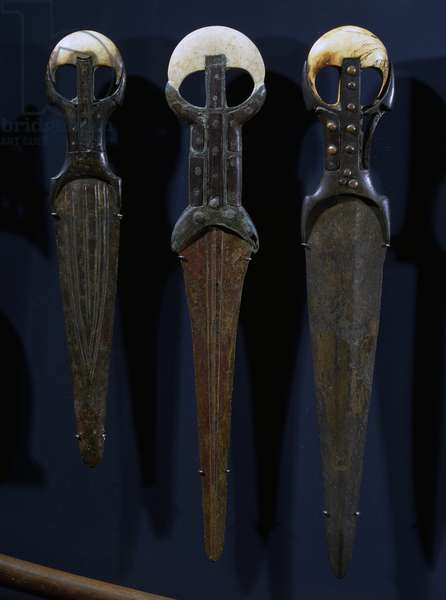 Bronze swords and daggers, with electron blades, ivory handles and copper nails, Egyptian civilization, Archaic Period