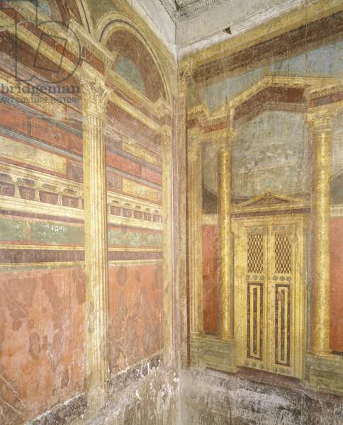 Frescoes in Second Pompeian Style depicting faux architecture, from Villa of Mysteries, Pompeii , Campania, Roman Civilization, 1st Century BC