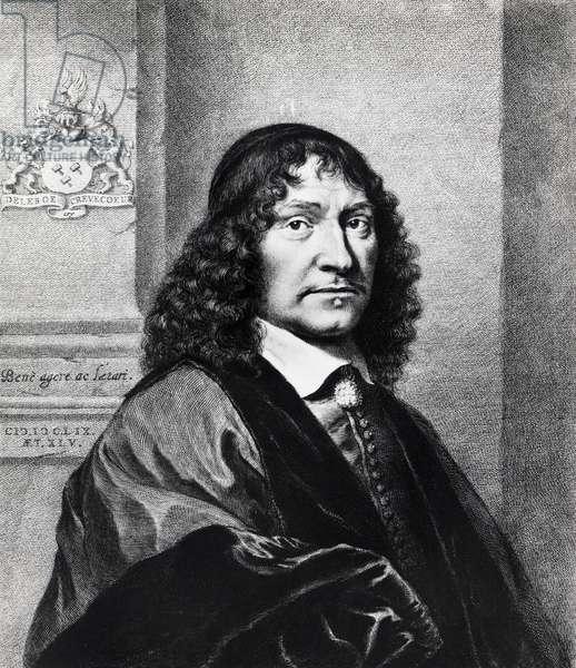 Portrait of Franciscus de le Boe Sylvius or Franz le Boe (Hanau, 1614-Leiden, 1672), Dutch physician and naturalist, 1659, engraving by Cornelis van Dalen I (1602-1665).