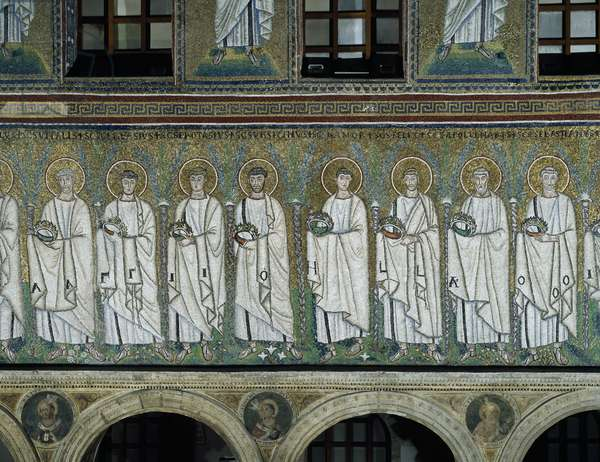 Basilica of Sant'Apollinare Nuovo, Presbytery, Detail of mosaics representing procession of Holy Martyrs, Ravenna, Emilia-Romagna, Italy