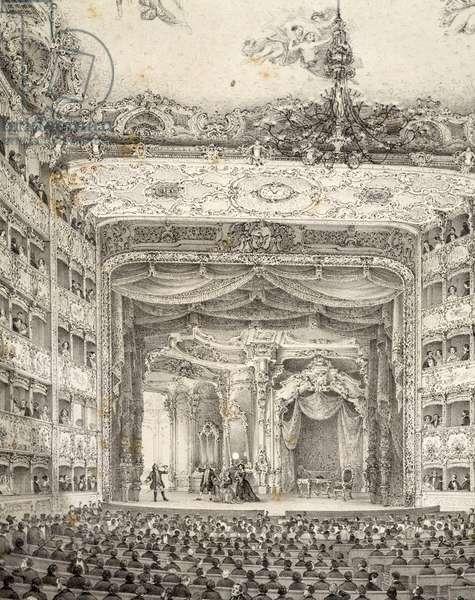 The interior of La Fenice Theatre in Venice, engraving, Italy, 17th century