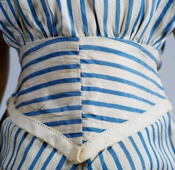 Striped dress, detail of Shirley Temple doll No 18 made by Ideal Novelty and Toy, 1934, USA, 20th century, Detail