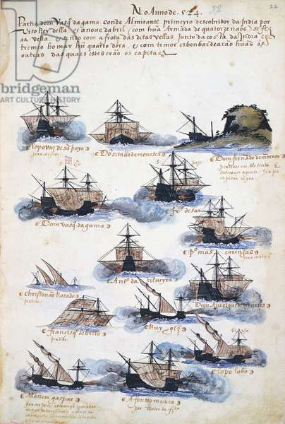 The Voyages of of Vasco da Gama, illustratration form 'Memorias das Armadas...', c.1568 (w/c on paper)