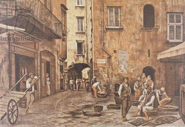 Italy, Naples, Piazzetta di Porto by Matteo Zampella,  1889 (lithograph)