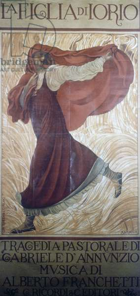 The daughter of Jorio, pastoral tragedy, by Gabriele d'Annunzio (1863-1938), poster illustrated, by Adolfo de Carolis (1874-1928)