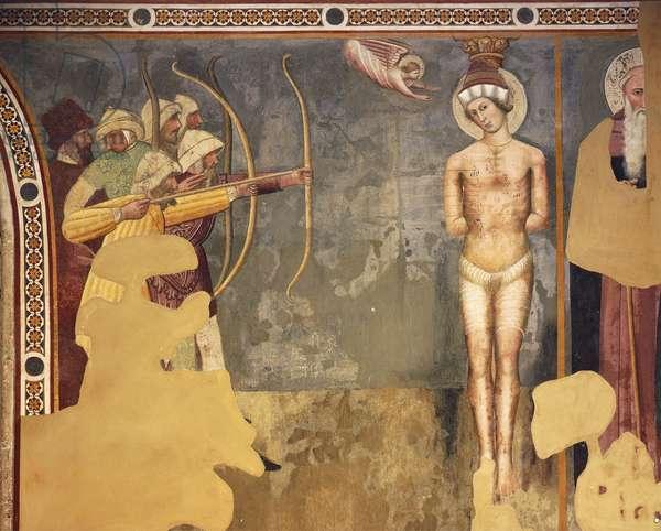 Martyrdom of St Sebastian, Umbrian school, fresco, Basilica of St Dominic, Perugia, Umbria. Italy, 14th century.
