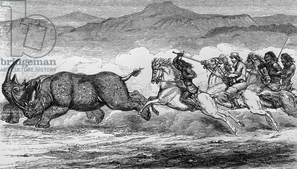 Rhinoceros hunting scene, Ethiopia, illustration from Nile Tributaries of Abyssinia, Samuel White Baker (1821-1893), London, 1871