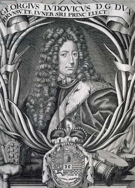 Portrait of George I of Great Britain (Osnabruck, 1660-1727), Elector of Hanover, King of Great Britain and Ireland, Painting by Godfrey Kneller (Lubeck, 1646-London, 1723)