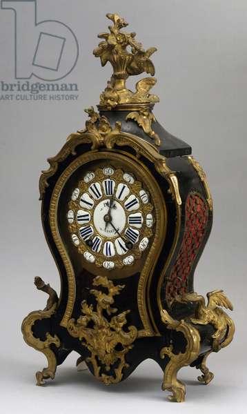 Louis XV-style mantel clock, enameled clock face signed D'Ey, Paris, mechanism signed by J Fois Dominice, Paris, France, ca 1740