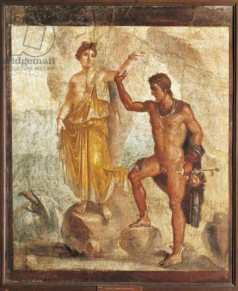 Italy, Campania, Pompeii, Perseus freeing Andromeda from the House of the Five Skeletons, fresco