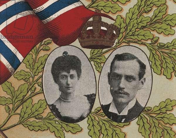 Norway, Bergen, Card depicts plebiscite-elected King Haakon VII and Queen Maud