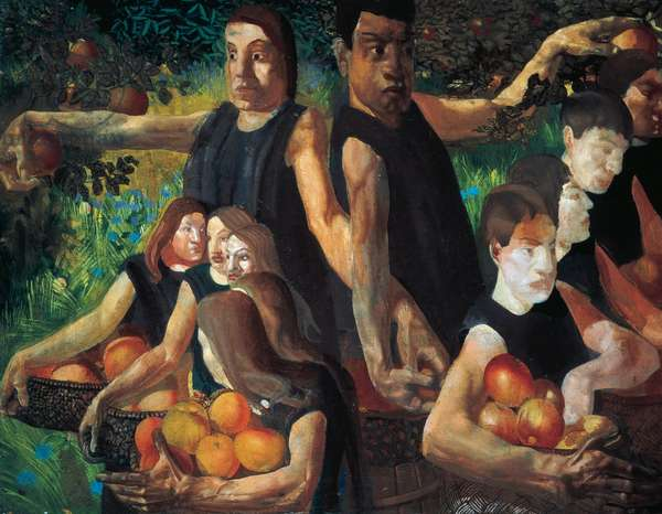 Apple gatherers, 1912-1913, by Stanley Spencer (1891-1959), oil on canvas, 71x92 cm. United Kingdom, 20th century.