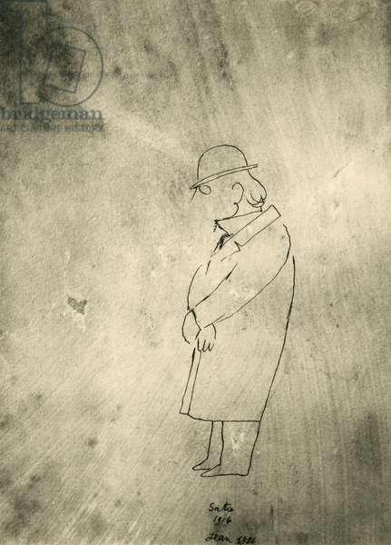 Portrait of Erik Satie (Honfleur, 1866 - Paris, 1925), French composer and pianist, Drawing by Jean Cocteau (1889-1963), 1916