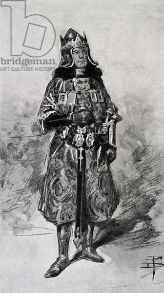 Italian actor Gustavo Salvini (1859-1930) in costume for the tragedy Francesca da Rimini by Gabriele D'Annunzio, 1901 drawing. 20th century