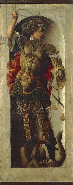St Michael the Archangel, 1472-1473, by Ercole de' Roberti (ca 1455-1496), panel 26.5 x11 cm