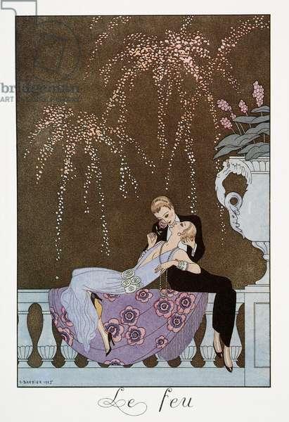 Le Feu, lithograph by George Barbier (1882-1932), from Falbalas et Fanfreluches, Almanach des Modes Presentes, Passees et Futures, 1930, France, 20th century