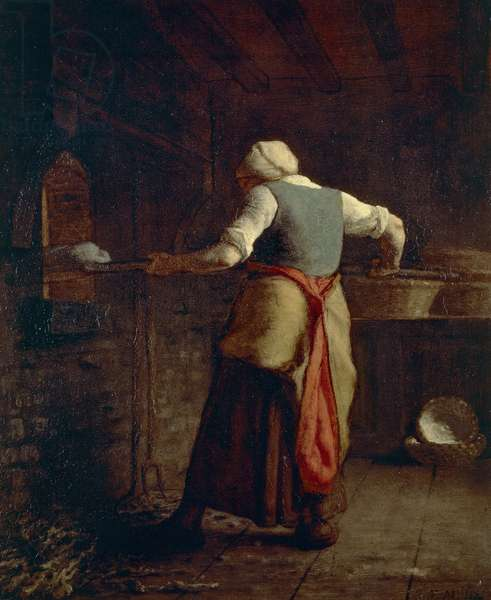 Woman baking bread (Femme cuisant the pain), by Jean-Francois Millet (1814-1875), 55x46 cm.