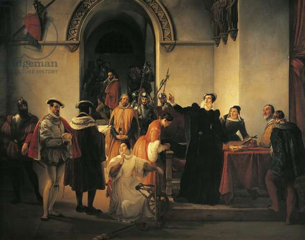 Mary Queen of Scots protesting her innocence before sheriffs as her death sentence is read out, by Francesco Hayez (1791-1882)