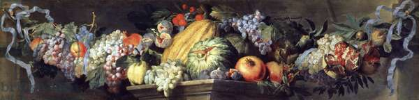 Feast of fruits and flowers, by Abraham Brueghel (ca 1631-1690), oil on canvas, 47x189 cm.