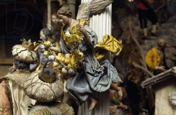 Magi and angel, Neapolitan nativity figurines from 18th century, church of Santa Maria in Via, Lazio, Italy