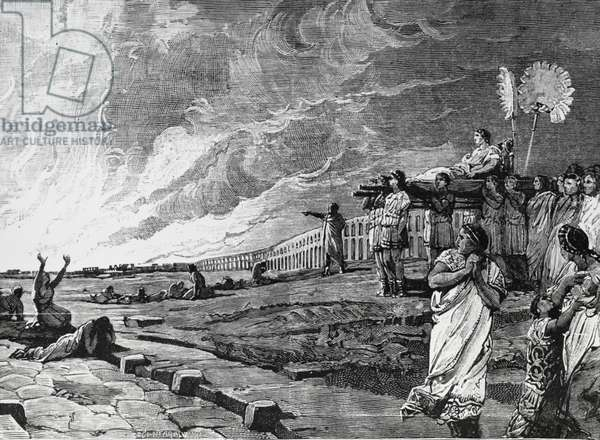 Nero watching Rome burn, from History of Italy by Francesco Bertolini (1836-1909), illustration by Ludovico Pogliaghi (1857-1950), Milan, 1890, Italy, 19th century
